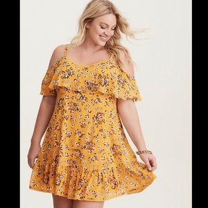 Torrid yellow floral off shoulder trapeze dress